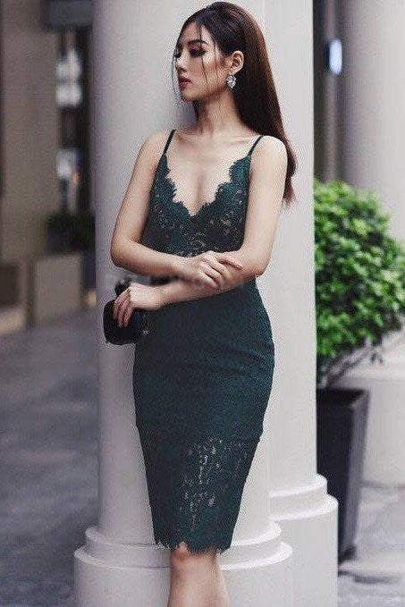 Dresses - Green Strap Lace