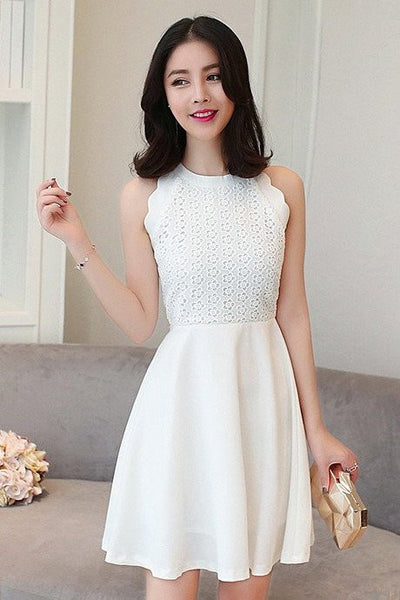 DRESS - Ivory Front Lace