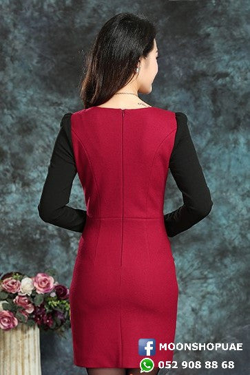 Dress - Maroon And Black Long Sleeve