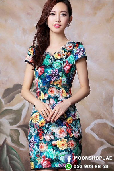 Dress - Multicolor Flower Short Sleeve