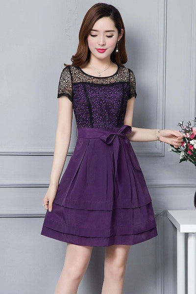 DRESS - Purple Top Lace
