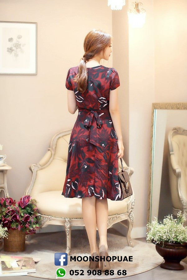 Red Flowers Long Dress