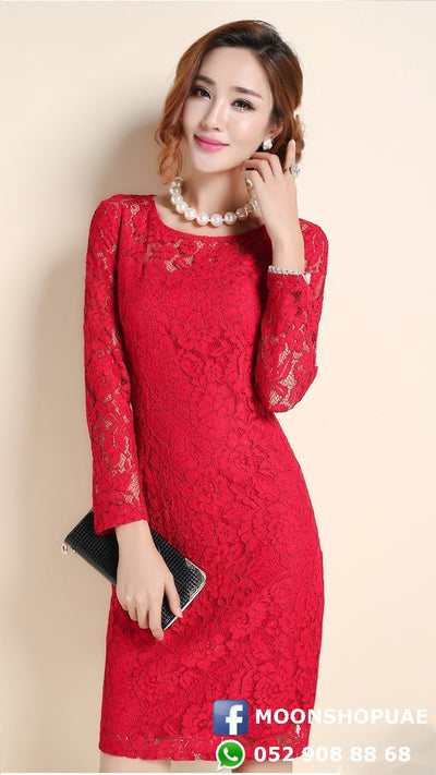 Dress - Red Lace Long Sleeves
