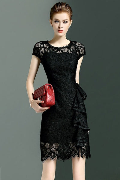 DRESS - Short Sleeves Lace