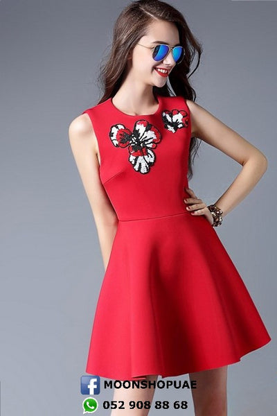 Dress - Sleeveless Front Flowers