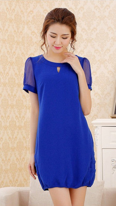 Dress - Sleeves Chiffon Blue Dress