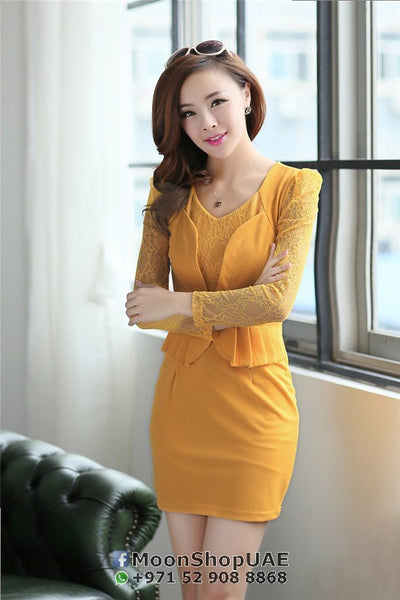 Dress - Yellow Lace Dress