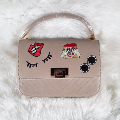 Handbag - Smiles Embroidery Satchel Handbag