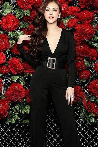 Jumpsuit - Black V Neck Jumpsuit