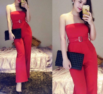 JUMPSUIT - Red Off Shoulders Jumpsuit