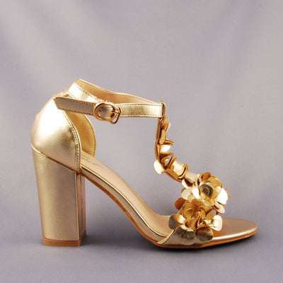 Shoes - Gold Chunky Heel