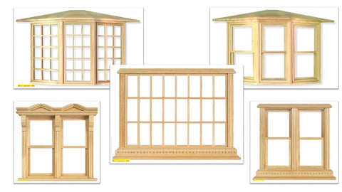 1:12 scale dolls house miniature selection of wooden  windows 5 to choose from.