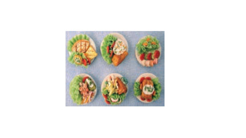 1/12 scale dollhouse miniature pack of food platters