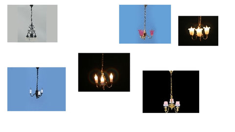 12th scale dollshouse miniature 12 volt 3 armed chandelier