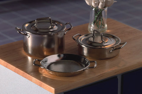 1/12 scale dollhouse miniature casserole pans