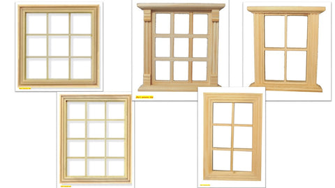 1:12 scale dolls house miniature selection of wooden  windows 5 to choose from. (set 3)