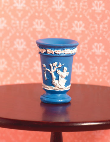 1/12 scale dollhouse miniature blue and white vase