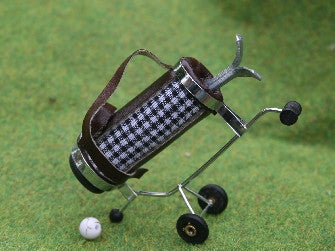 12th scale dollshouse miniature set of checked golf clubs
