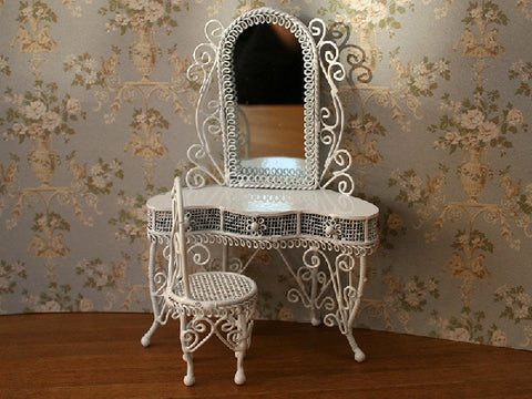 1/12 scale dollshouse miniature wire dressing table and stool