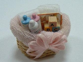 12th scale dollshouse miniature  baby basket