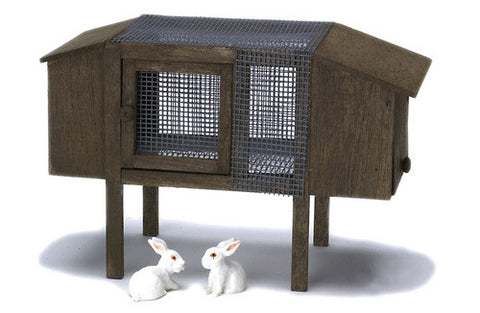12th  scale dollshouse miniature rabbit hutch and rabbits