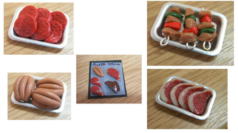 12th scale doll house miniature handmade assorted meat