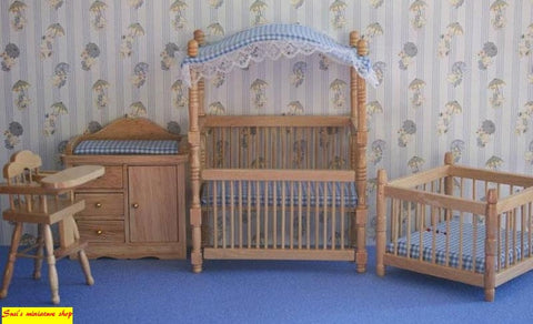 12th scale dollhouse miniature complete nursery set