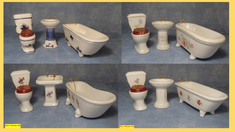 1/12 dollshouse miniature 3 piece bathroom