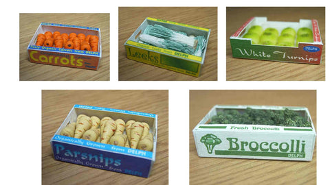 1/12 scale dollhouse miniature handmade carton of vegetables