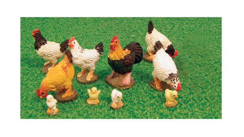 1/12 scale dollshouse miniature set of chickens