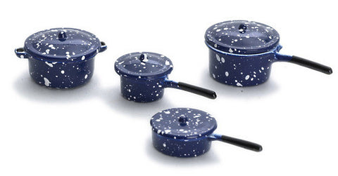 12th scale dollhouse miniature blue spatter ware