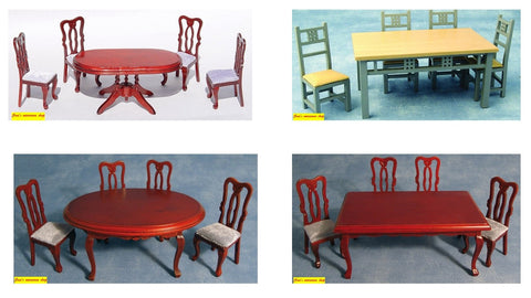 12th scale dollshouse miniature  dining table and four chairs