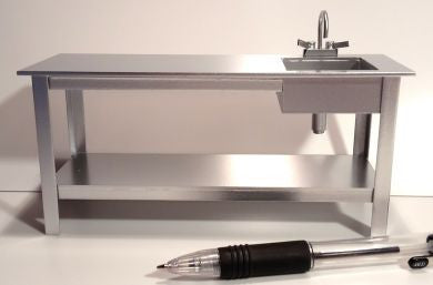 12th scale dollhouse miniature preparation bench with sink