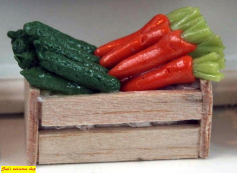 12th scale dollhouse miniature crates of vegetables