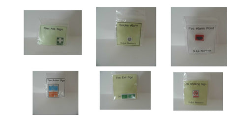 1/12 dollshouse miniature modern health and safety signs