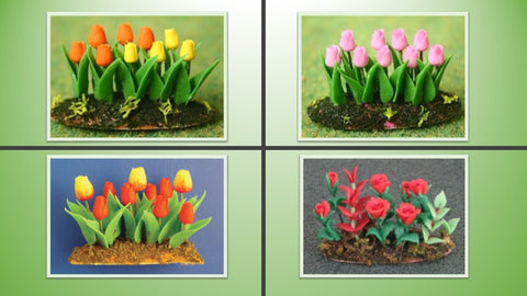 1:12 scale dolls house miniature flower beds in earth 4  to choose from.
