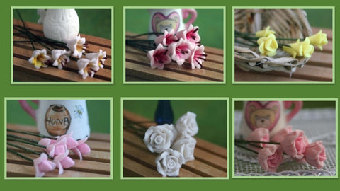 12th scale dollshouse miniature set of 6 flowers in a spray