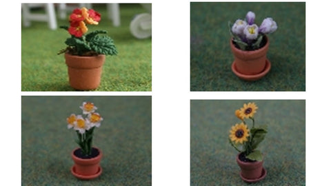 1:12 scale dollhouse miniature flower pots and flowers