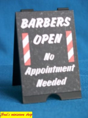 12th scale dollhouse miniature handmade A boards hairdressers/barbers