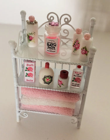 1:12 scale dollshouse miniature handmade white wire bathroom unit