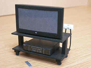 1/12 dollshouse miniature modern widescreen TV on a stand