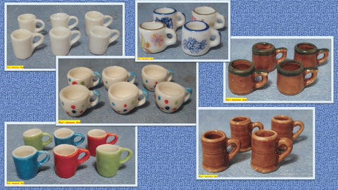 1/12 scale doll house miniature coffee mugs
