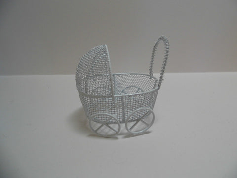 12th scale dollshouse miniature white wire pram