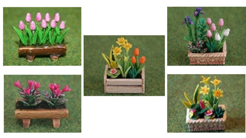 1:12 scale dollhouse miniature flowers in planters