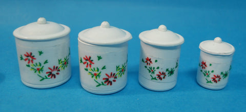 12th scale dollhouse miniature set of white floral canisters