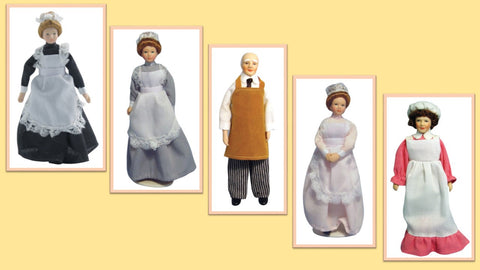 1:12 scale dolls house miniature porcelain dolls domestic staff  5  to choose.