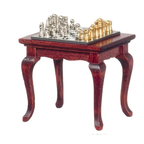 12th scale dollhouse miniature chess set and table