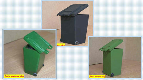 1/12 scale dollhouse miniature modern wheelie bin