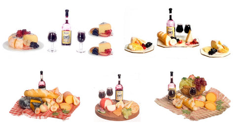 12th scale dollhouse miniature cheese and wine