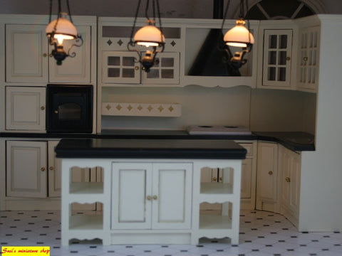 12th scale dollhouse miniature complete black and cream modern  kitchen set